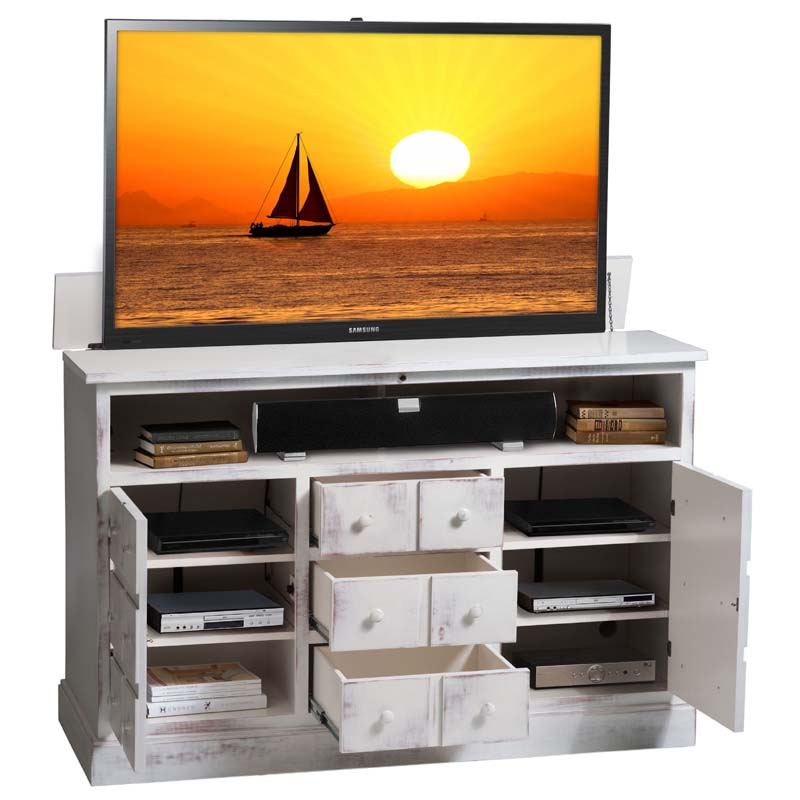 Tv Lift Cabinet Nantucket Lift For 40 To 60 Inch Screens Weathered White At006380ww