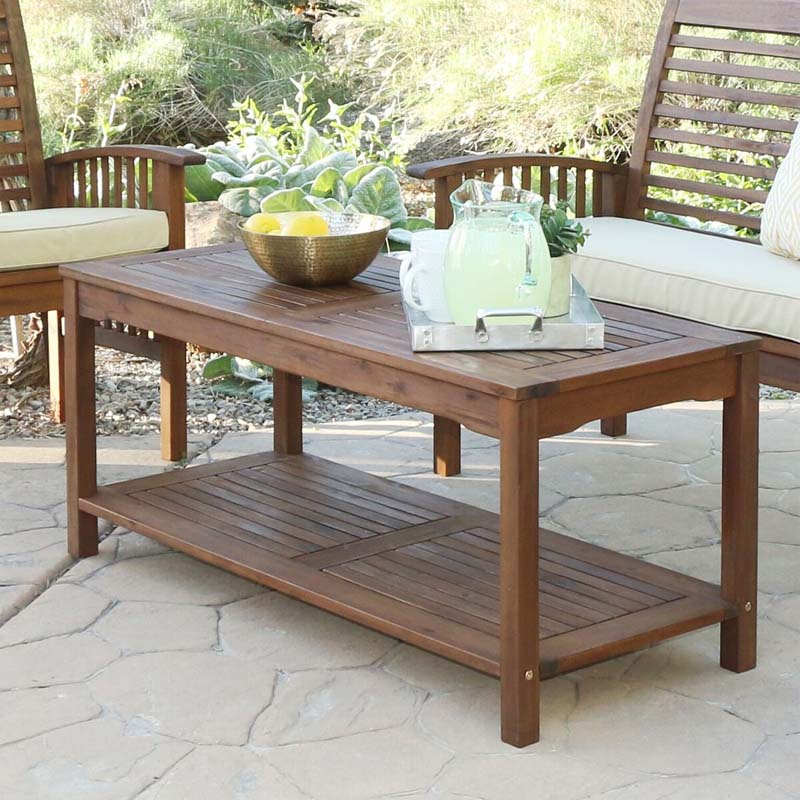 Walker Edison Acacia Wood Patio Coffee Table Dark Brown Owctdb