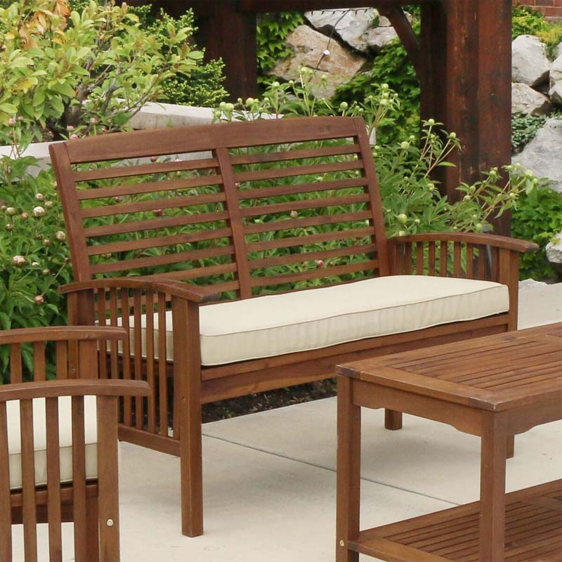 Walker Edison Acacia Wood Patio Loveseat Bench Dark Brown Owlsdb