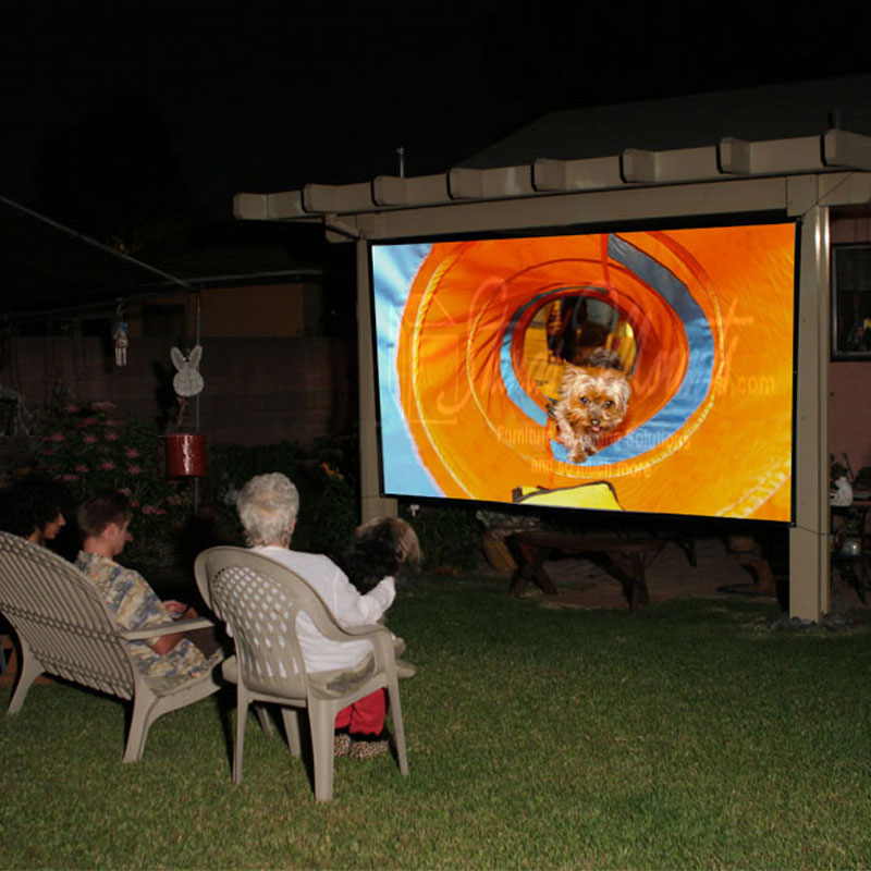 outdoor rear projection screen Seg unlike any other seg our seg extrusions are custom mounted to the back  of our square tube frames to create a projection screen with absolutely zero.
