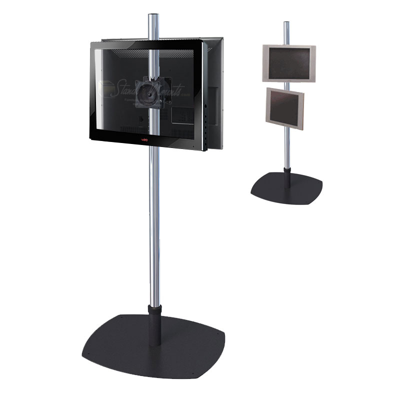 premier mounts single pole floor stand for dual 17 40 inch. Black Bedroom Furniture Sets. Home Design Ideas