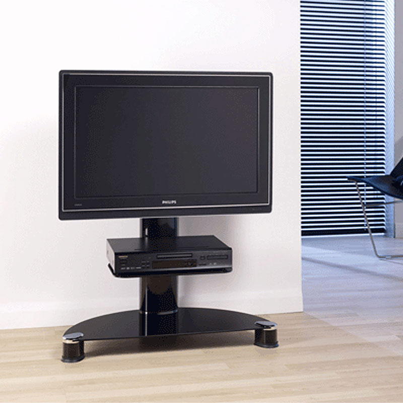 techlink avatar flat screen pedestal with mount for screens up to 50 in gloss black ptv7. Black Bedroom Furniture Sets. Home Design Ideas