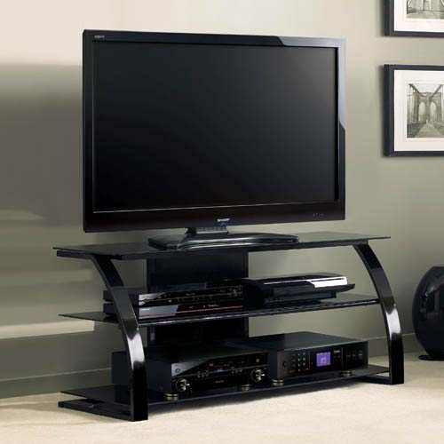 Bello High Gloss Black 55 Inch Tv Stand With Black Glass