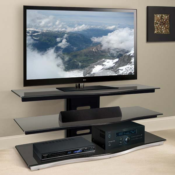 Bello Modern Curved Front Black Glass 55 Inch TV Stand