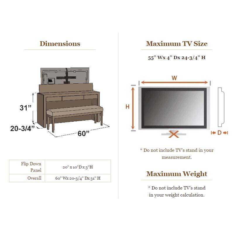tv lift cabinet queen footboard tv lift desk with bench. Black Bedroom Furniture Sets. Home Design Ideas