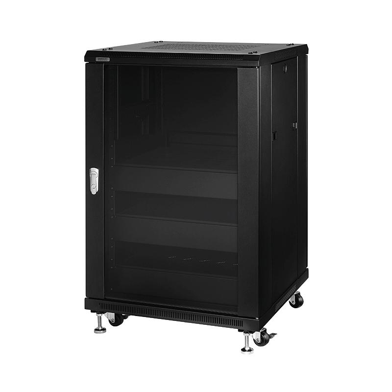 Omnimount fully assembled 18ru rack cabinet black re18 for Pre assembled cupboards