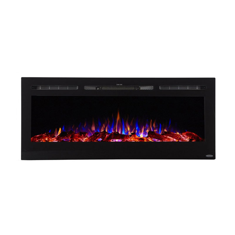 touchstone sideline 50 inch wall mounted recessed electric fireplace black 80004. Black Bedroom Furniture Sets. Home Design Ideas