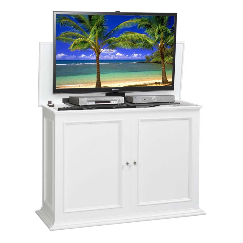 tv lift cabinet sanctuary series lift for 36 to 50 inch screens white at006569wht. Black Bedroom Furniture Sets. Home Design Ideas