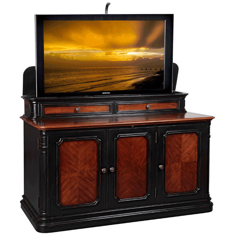 tv lift cabinet sycamore lift for 40 60 inch screens two. Black Bedroom Furniture Sets. Home Design Ideas