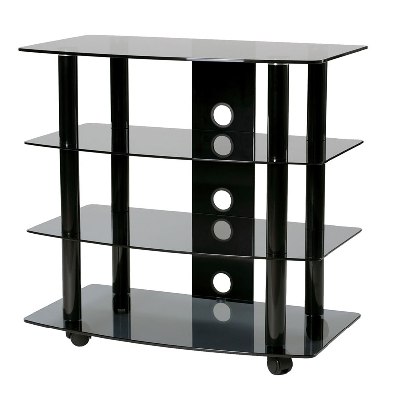TransDeco Black Glass And Metal TV Stand Audio Rack For Up