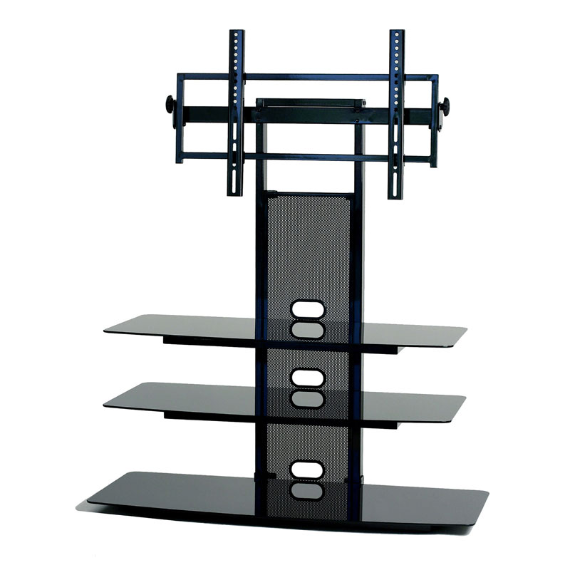 TransDeco Black Glass TV Stand With Integrated Flat Panel