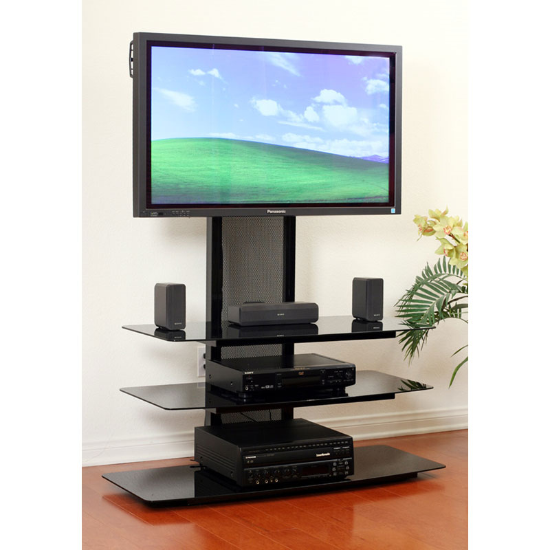 TransDeco Black Glass TV Stand with Integrated Flat Panel Mount for 32-65  inch Screens (Black) TD550HB