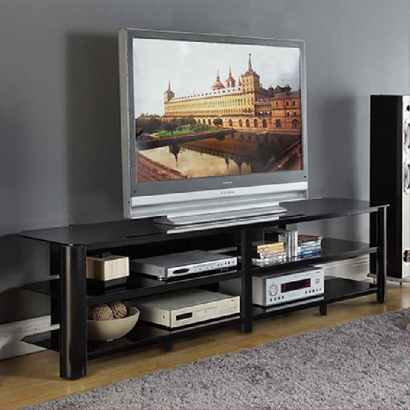 innovex oxford series 82 inch flat screen tv stand black glass tpt83g29. Black Bedroom Furniture Sets. Home Design Ideas