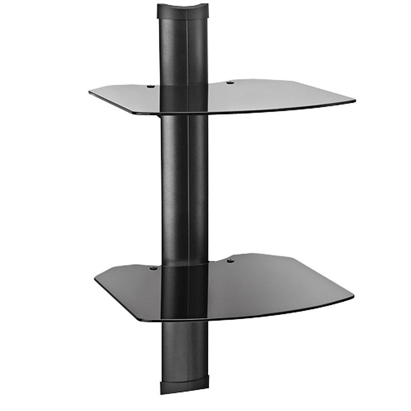 Omnimount tria series 2 glass shelf wall system black tria2 - Glass free standing shelves ...