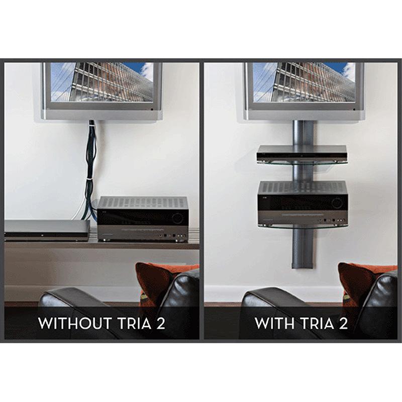 omnimount tria series 2 glass shelf wall system black tria2b
