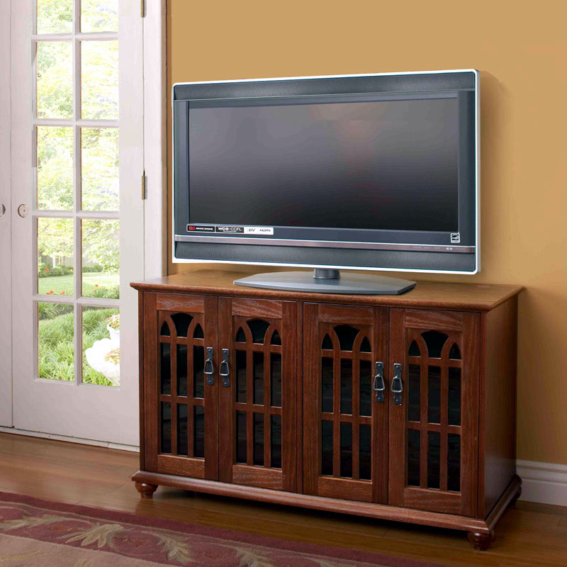 leslie dame mission style 50 inch tv stand with glass inlaid cabinets walnut tvgd 48w. Black Bedroom Furniture Sets. Home Design Ideas