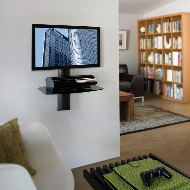 Omnimount Tria Series Single Glass Shelf Wall System Black