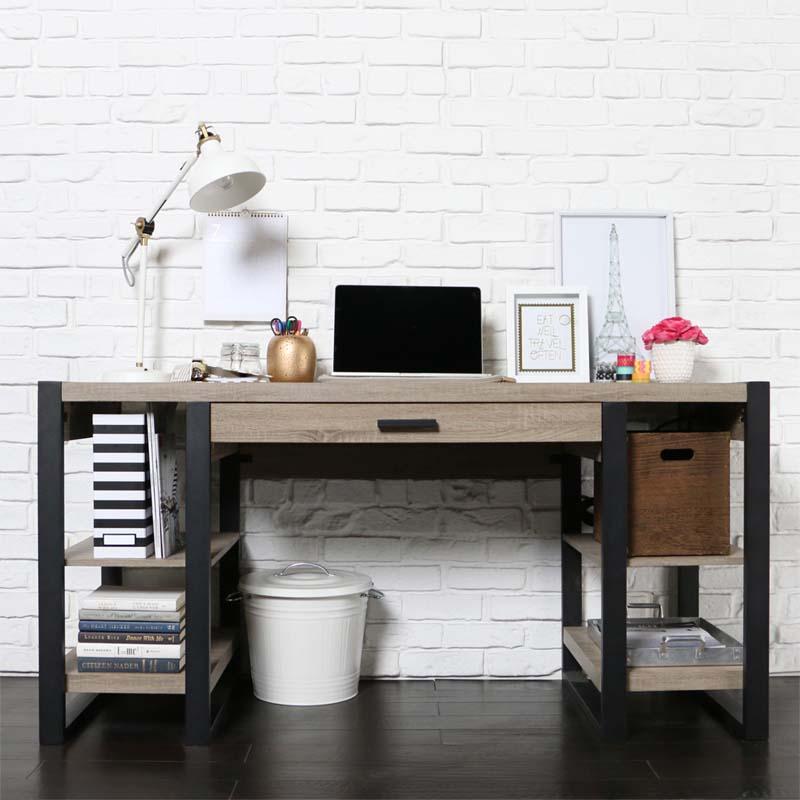 Walker Edison Urban Blend Computer Desk Ash Grey And Black