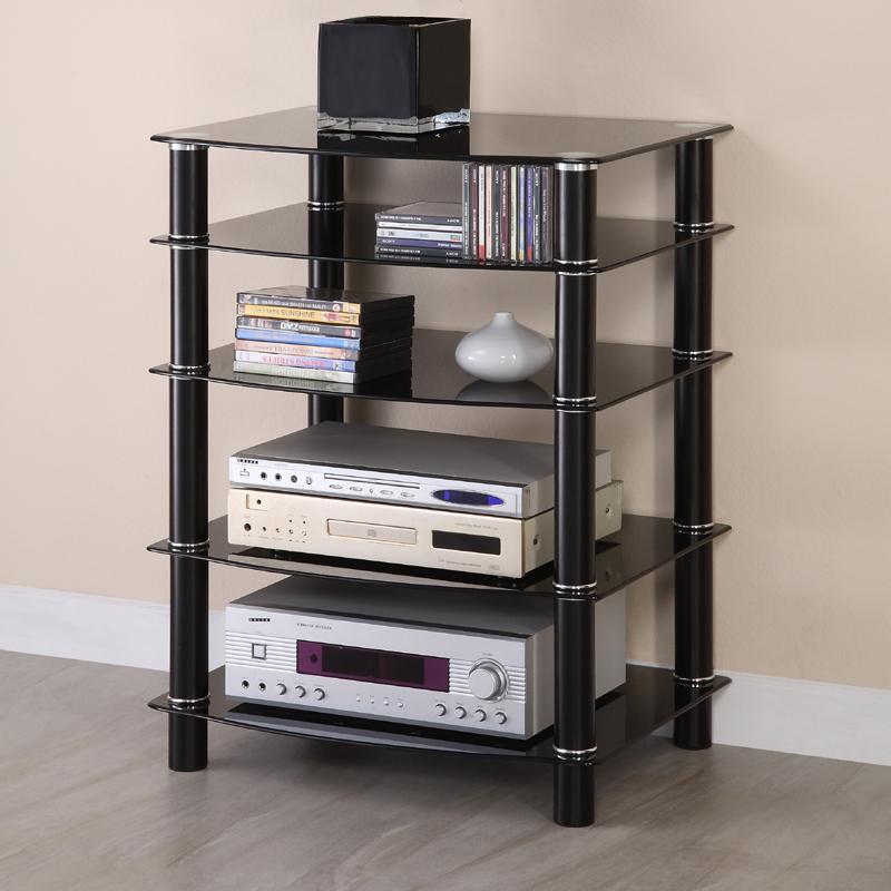Furniture For Tv Components: Walker Edison Everest Black Glass Multilevel Component