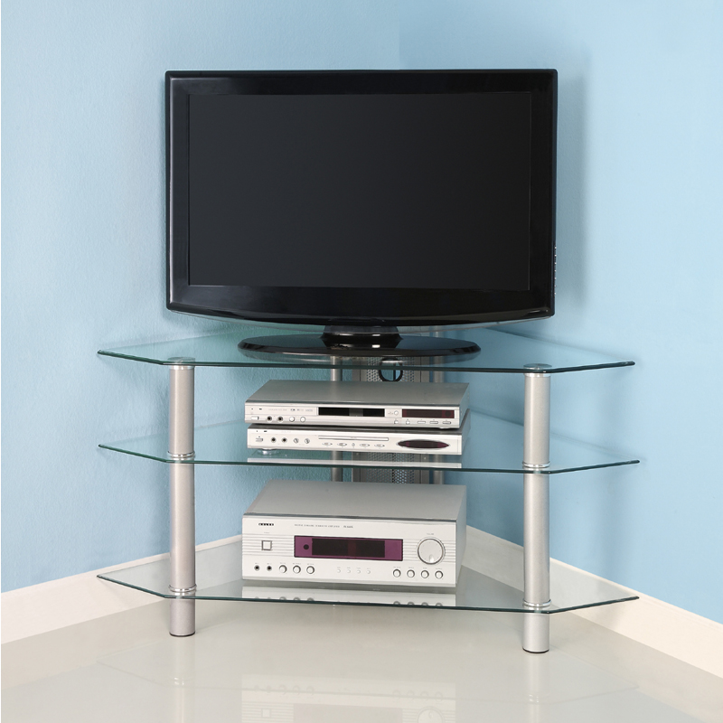 Walker Edison Bermuda 44 inch Corner TV Stand Silver V44Y76 -> Table Tv En Coin