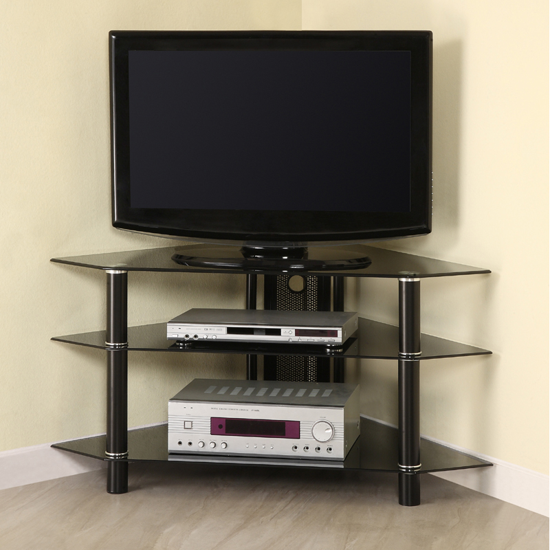 Walker Edison Bermuda 44 Inch Corner Tv Stand Black Glass