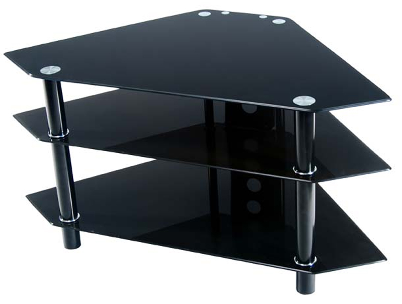 Walker Edison Bermuda 44 inch Corner TV Stand Black Glass ...
