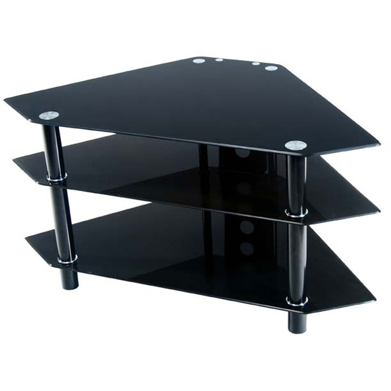 Walker Edison Bermuda Black Glass Corner Tv Stand Black