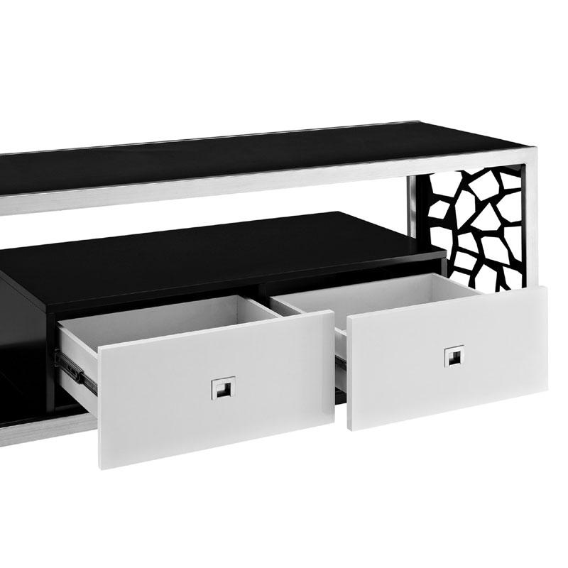walker edison modern mosaic 65 inch tv stand silver and black glass v60msc. Black Bedroom Furniture Sets. Home Design Ideas