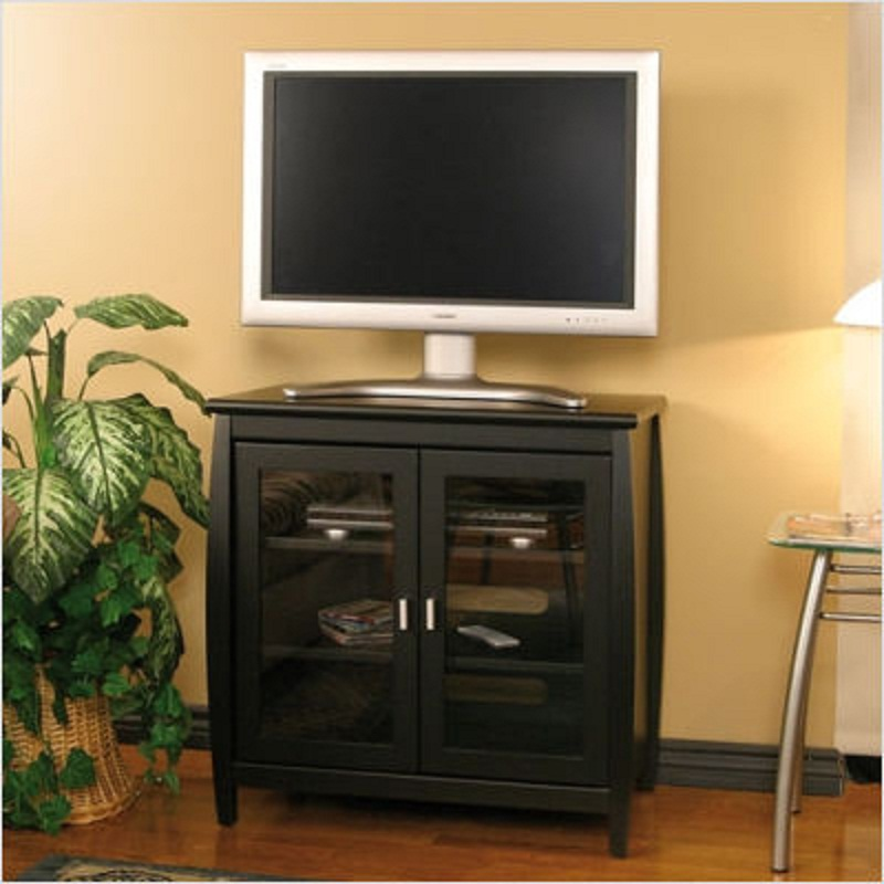 Tech craft veneto series rounded wood tv stand for 26 32 for Tech craft tv stands