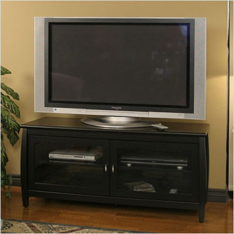 tech craft veneto series rounded wood tv stand for 32 48. Black Bedroom Furniture Sets. Home Design Ideas