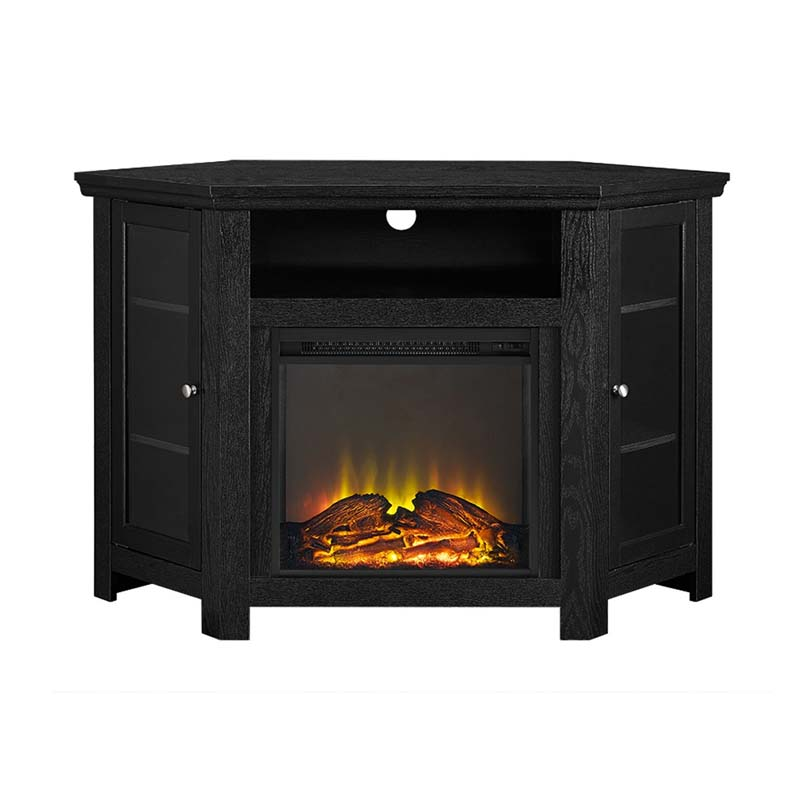 Walker Edison Corner Fireplace Tv Stand For 50 Inch Screens Black W48fpcrbl
