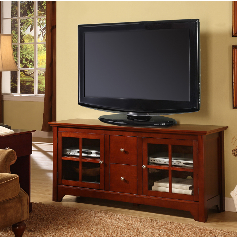 walker edison solid wood tv console for up to 55 flat panels brown w52c2dwwb. Black Bedroom Furniture Sets. Home Design Ideas