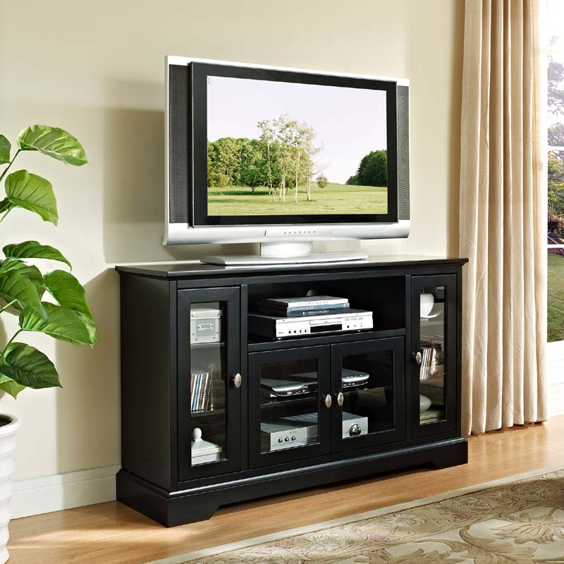 walker edison wood highboy style 55 inch tv cabinet black w52c32bl. Black Bedroom Furniture Sets. Home Design Ideas