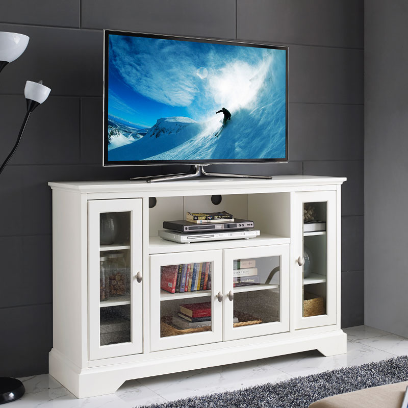 View A Larger Image Of The Walker Edison 55 Inch Highboy TV Cabinet (White)