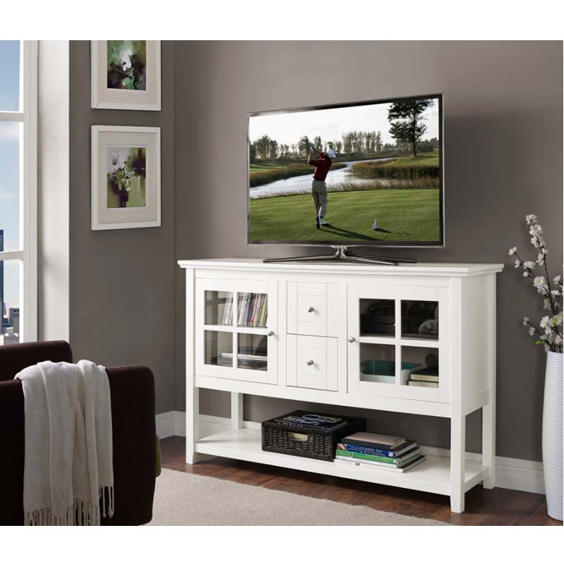 Walker Edison 55 Inch Highboy Table TV Stand White W52C4CTWH