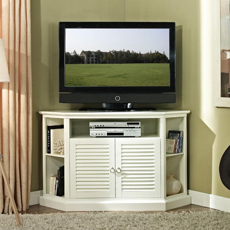 Walker Edison Wood Highboy 55 inch Corner TV Cabinet Gloss White ...