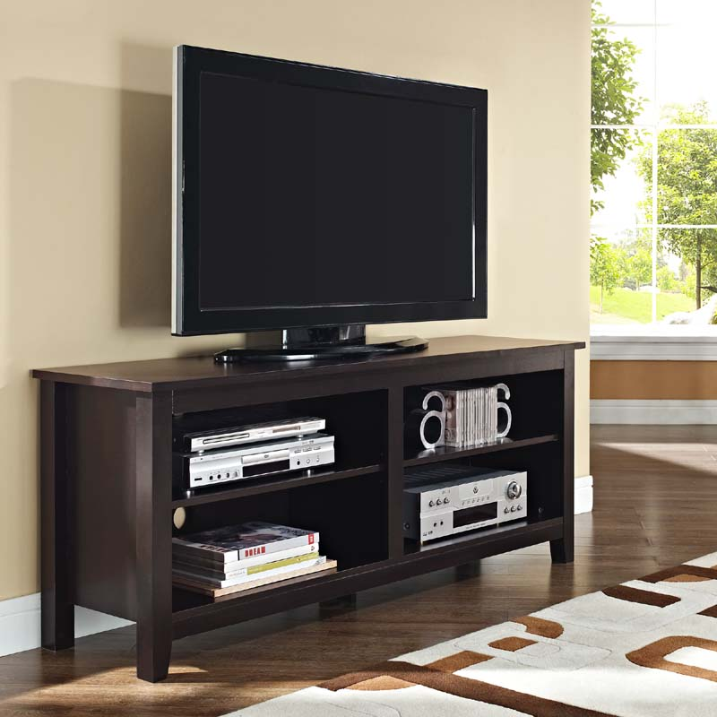 walker edison open shelf 60 inch tv stand espresso w58cspes. Black Bedroom Furniture Sets. Home Design Ideas