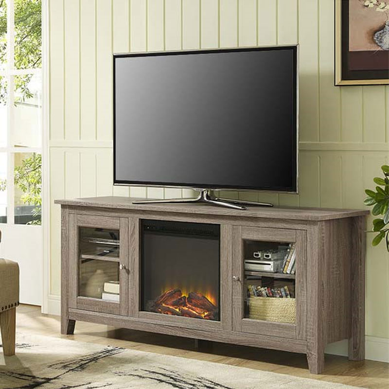 Walker Edison 60 inch TV Stand with Electric Fireplace Ash Grey ...