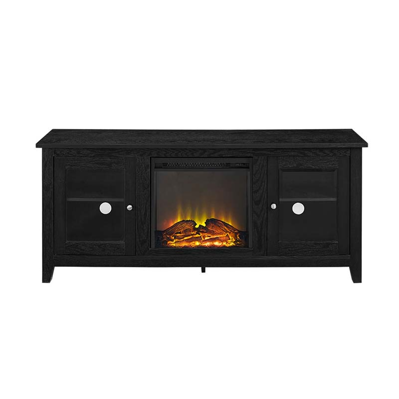 Walker Edison 60 Inch Tv Stand With Electric Fireplace Black W58fp4dwbl
