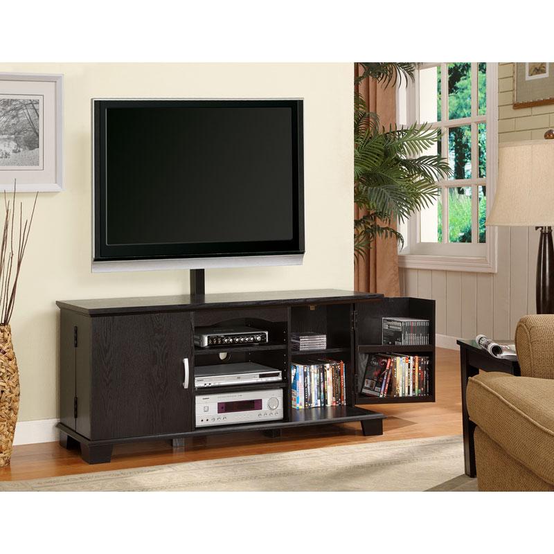 walker edison tv console with mount for 60 inch screens black w60c73bl mt. Black Bedroom Furniture Sets. Home Design Ideas