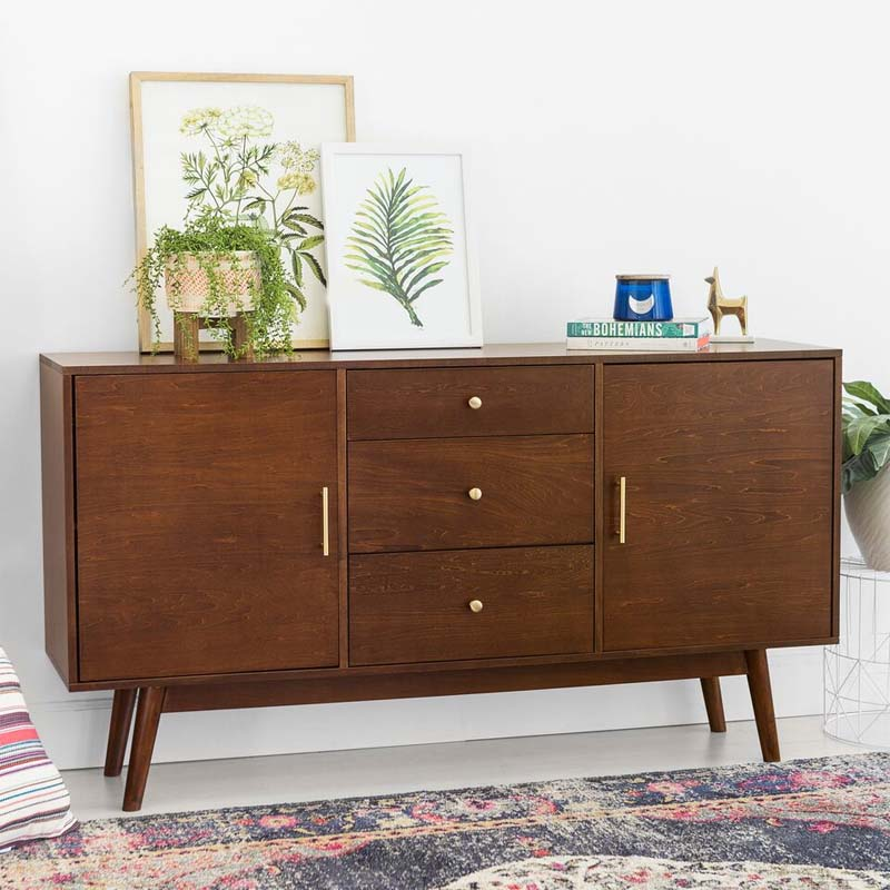 walker edison mid century modern 60 inch tv stand walnut w60cmcwt. Black Bedroom Furniture Sets. Home Design Ideas