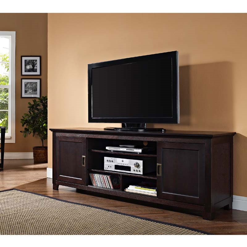 walker edison solid wood 70 inch tv stand with sliding doors espresso w70c25sdes. Black Bedroom Furniture Sets. Home Design Ideas