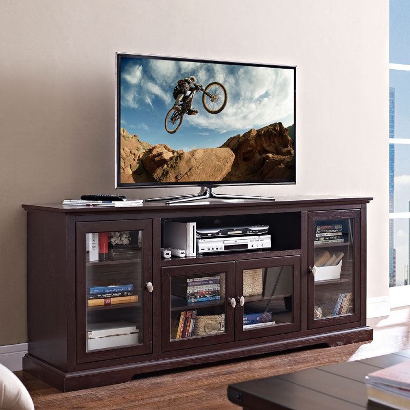 View A Larger Image Of The Walker Edison 70 Inch Highboy TV Cabinet  (Espresso)