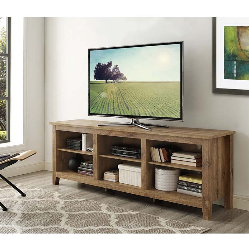 walker edison essentials 70 inch tv stand barnwood w70cspbw. Black Bedroom Furniture Sets. Home Design Ideas
