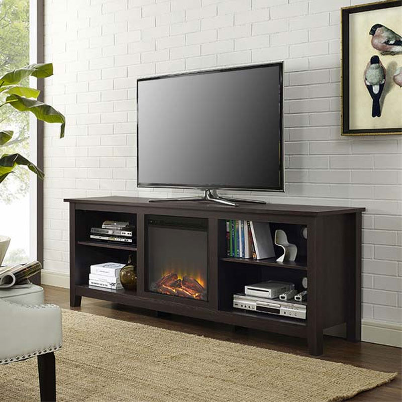 Electric Fireplace tv console with electric fireplace : Walker Edison 70 inch TV Stand with Electric Fireplace Espresso ...