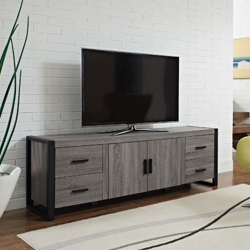 Walker Edison Urban Blend 70 Inch Tv Console Ash Gray And