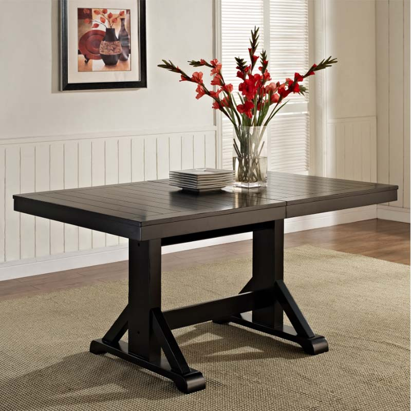 Walker edison dining table with concealed butterfly leaf for Black dining table with leaf