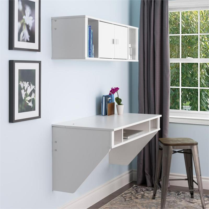 prepac designer wall mounted floating desk white wehw 0500 1. Black Bedroom Furniture Sets. Home Design Ideas