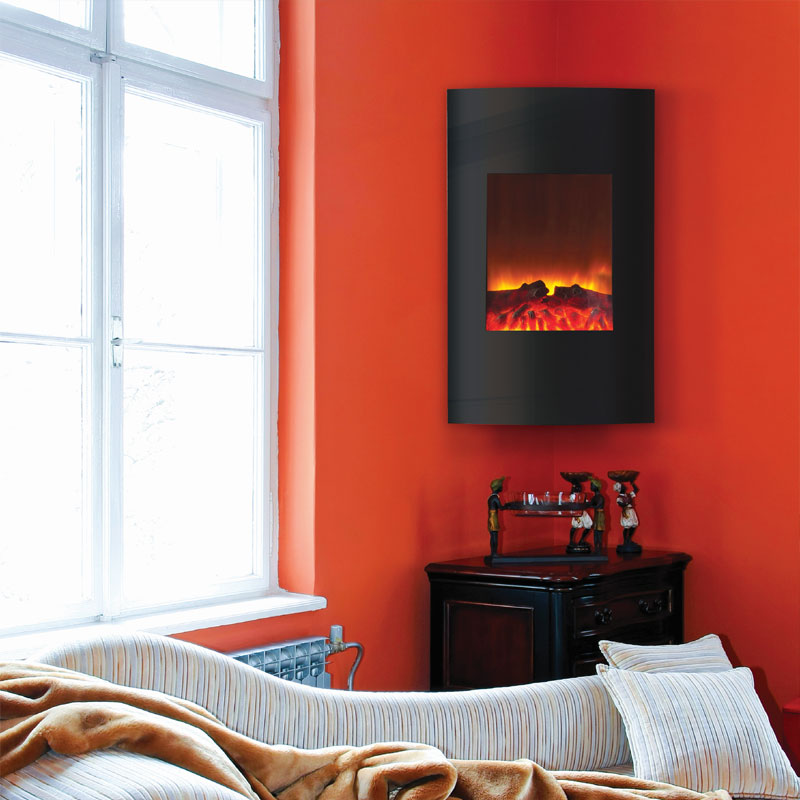 Amantii 21 X 34 In Wall Mount Fireplace With Convex Black