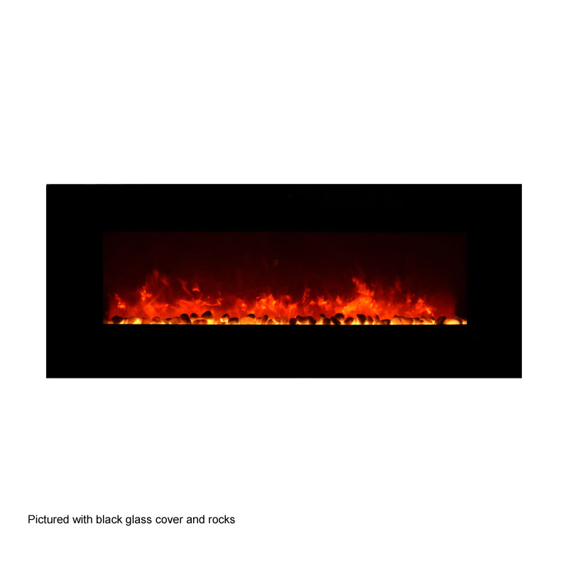 amantii 50 in wall mount electric fireplace w black glass